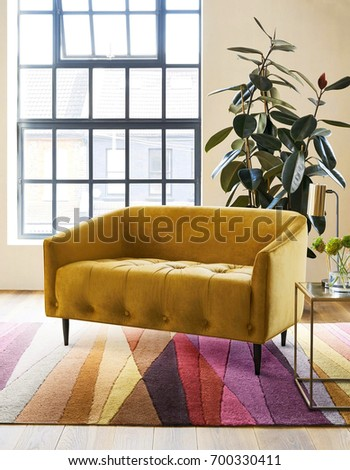 Modern living room interior in new luxury home Stock fotó ©