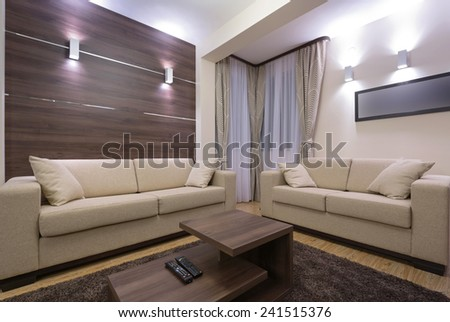 Modern living room interior in the evening