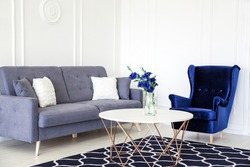 Modern living room interior - navy blue corduroy armchair, sofa with cushions, round table and vase with a bouquet of blue flowers. Horizontal photo