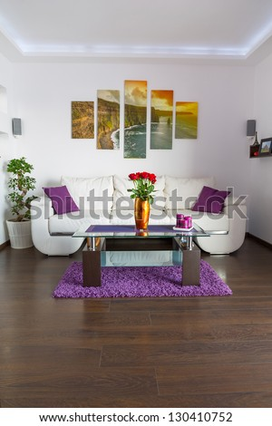 Modern living room interior with canvas on the wall. Photos from canvas is available in my gallery.