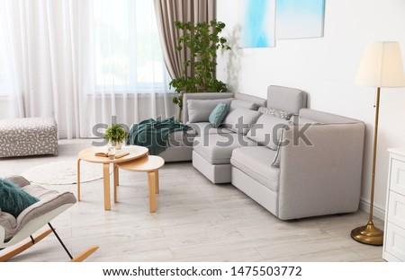 Modern living room interior with comfortable sofa #1475503772
