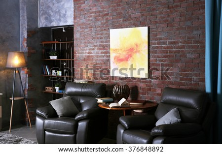 Modern living room interior with leather armchairs #376848892