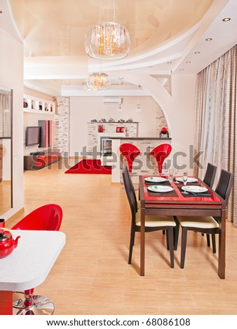 Modern living room interior with red decoration