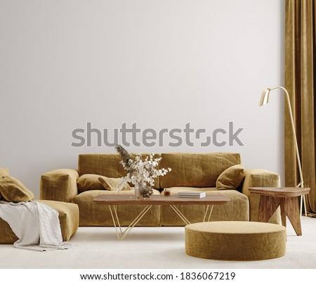 Modern living room interior with stylish velvet sofa, beige carpet and golden floor lamp, 3d render