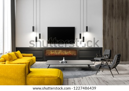 Modern living room interior with white walls, wooden floor, yellow sofa, two black armchairs and tv set hanging above a fireplace. 3d rendering