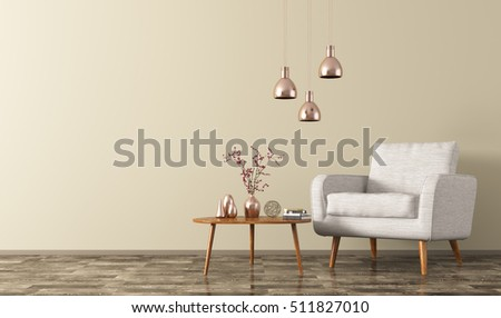 Modern living room interior with wooden coffee table,white armchair and copper lamps 3d rendering