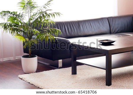 Modern living room, leather sofa, cowhide, design and looks well thought out.