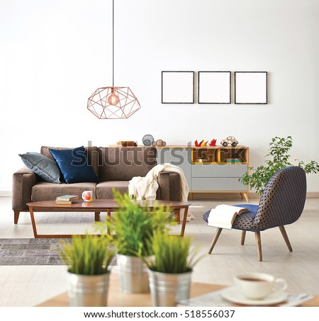 modern living room sofa and armchair with vase of grass, modern lamp