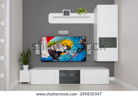 Shutterstock Modern living room - TV and speakers home theater.