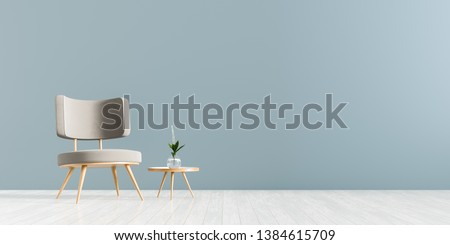 Modern living room with armchair and wooden small coffee table. Scandinavian style furniture design. 3D illustration. #1384615709