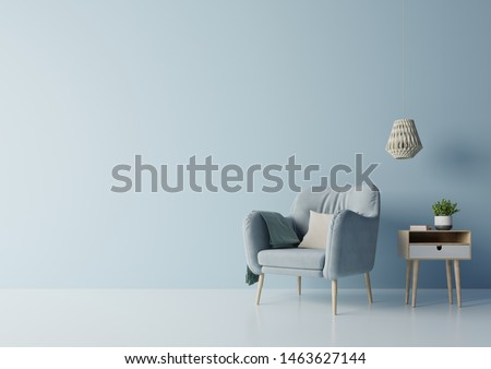 Modern living room with blue armchair have cabinet and lamp on wood flooring and blue wall ,3d rendering  Photo stock ©