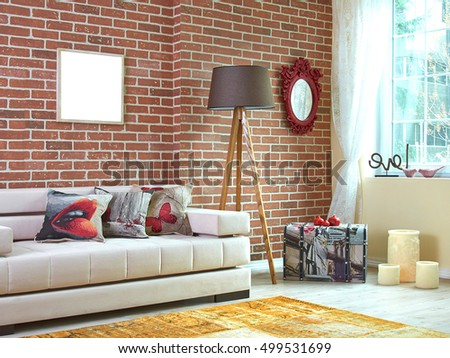 Modern living room with brick walls and seat style window view