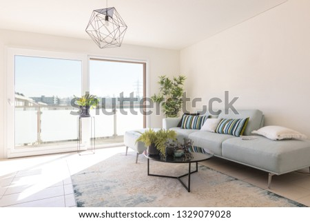 Modern living room with designer sofa and coffee table. Window with view. Nobody inside #1329079028