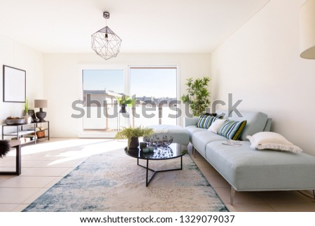 Modern living room with designer sofa and coffee table. Window with view. Nobody inside #1329079037