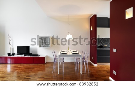 Living Room on Modern Living Room With Dining Table With Wood Floor Stock Photo