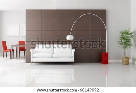 modern living room with dininig space - rendering