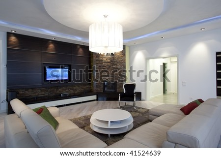modern living rooms with fireplaces on Modern Living Room With Fireplace Stock Photo 41524639   Shutterstock
