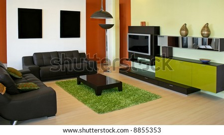 Modern Living Room With Green And Terracotta Colors Stock Photo 8855353 Shutterstock