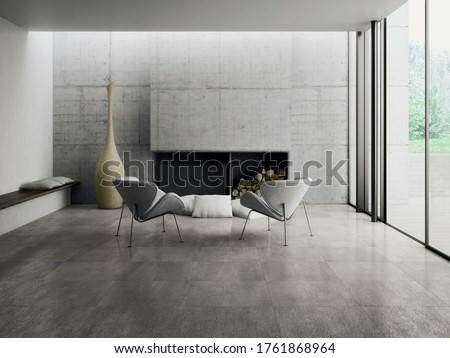 Modern living room with grey  tiles, seamless design, luxurious interior background.