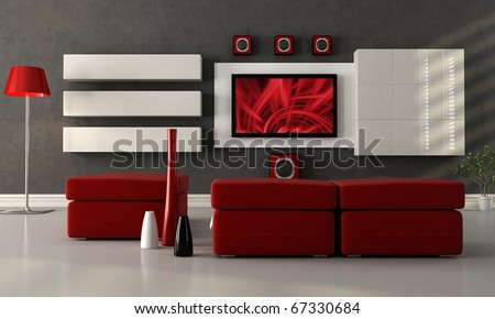 modern living room with home theater system - the image on screen is a my composition