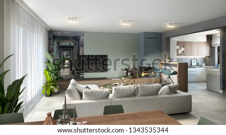 Modern living room with kitchen, chalk board, 3d illustration, 3d rendering, 300 dpi