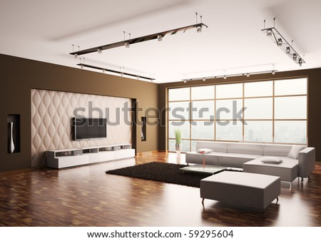 Modern Living room with lcd and white sofa interior 3d