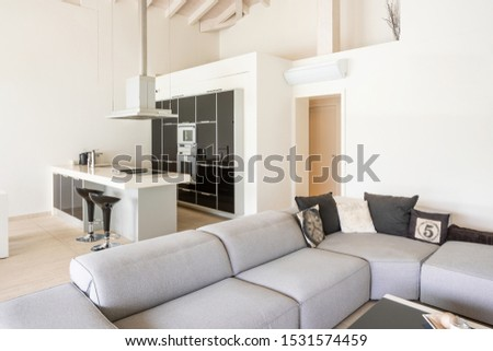 Modern living room with low sofa and white and black kitchen with island and stools. Stainless steel hood. Nobody inside