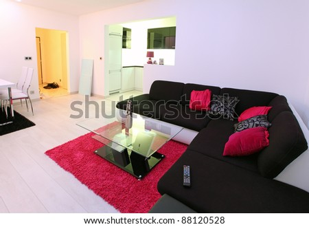 Modern living room with one leather sofas - stock photo