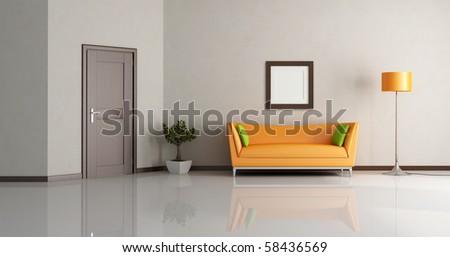 modern living room with orange couch and wooden door - rendering