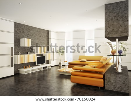 Modern living room with orange sofa and LCD interior 3d render