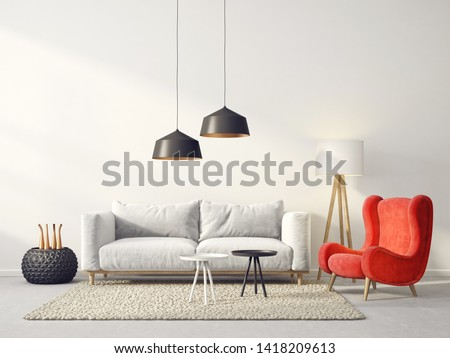 modern living room  with red armchair and sofa. scandinavian interior design furniture. 3d render illustration