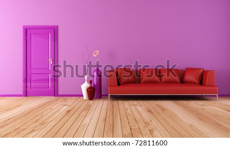 modern living room with red leather sofa with plank wood floor-rendering