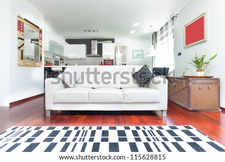 Modern living room with sofa and checkered carpet