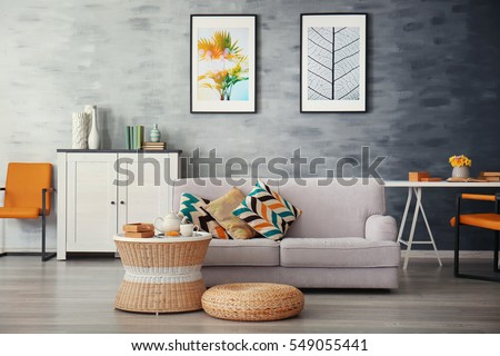 Modern living room with sofa and furniture #549055441