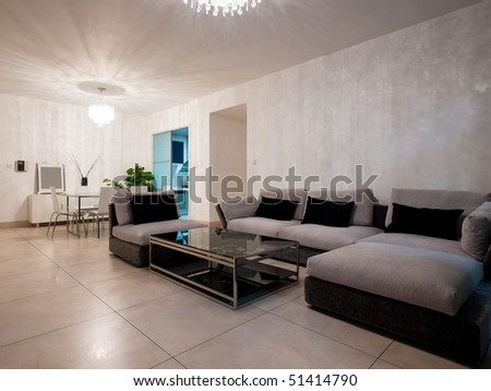 modern living room with sofa and tea table - stock photo