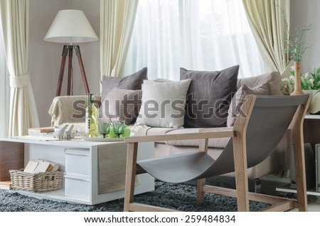 modern living room with sofa and white lamp at home