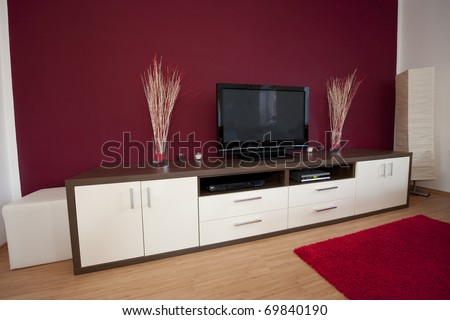 Modern living room with television.