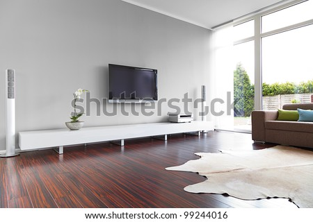 Modern living-room with TV and hifi equipment #99244016