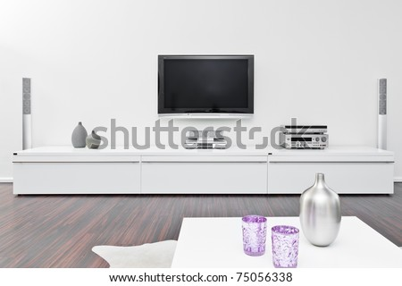 Modern living room with tv equipment