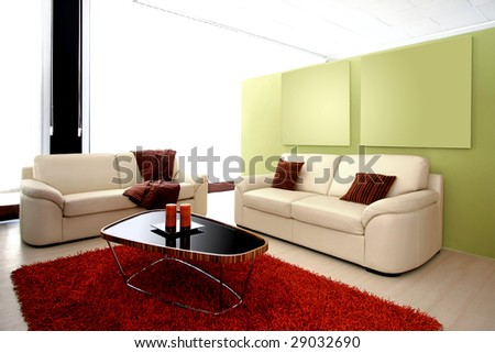 Modern living room with two leather sofas