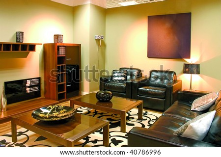 Living Room Lamps on Modern Living Room With Warm Colors  Leather Sofa  Two Arm Chairs And