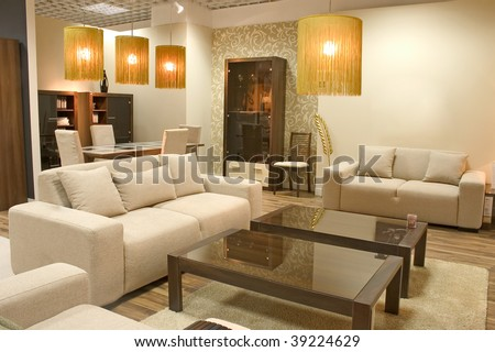 Modern Living Room With Warm Colors. Two Big Sofas And A Caffee ...