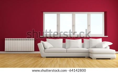 Living Room Couch on Modern Living Room With White Sofa And Hot Water Radiator Stock Photo