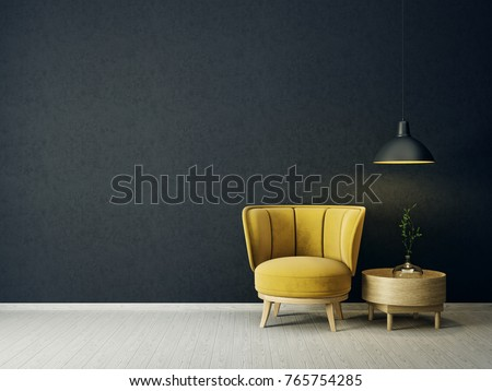 modern living room  with yellow armchair and lamp. scandinavian interior design furniture. 3d render illustration