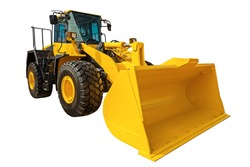 Modern Loader excavator construction machinery equipment with clipping path isolated on white background