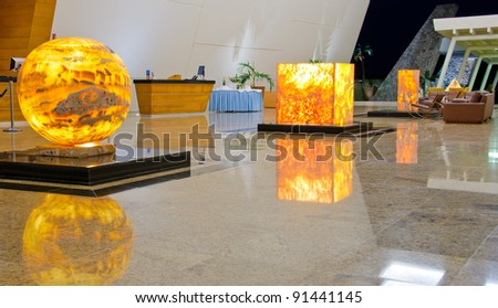 Modern lobby for five stars hotel. Mexican resort