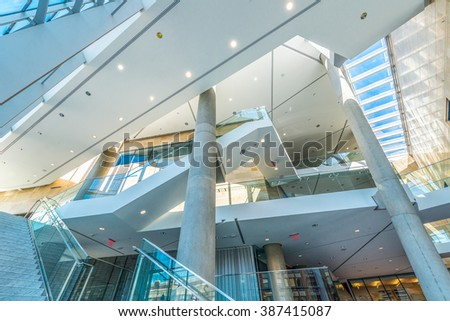 Modern lobby, hallway, plaza of the luxury building center, hotel, shopping mall, business center in Vancouver, Canada. Interior design.