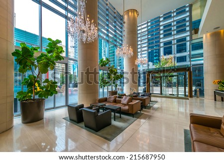 Modern Lobby Hallway Plaza Of The Luxury Hotel Shopping Mall Business Cen