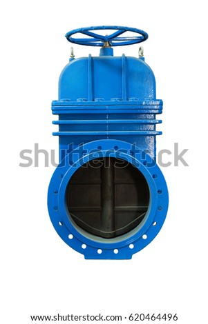 modern locking devices allow you to safely operate the gas supply . In isolation. On a white background blue metal shut-off valve for gas pipelines. Sliding knife gate valve Shutoff and control valves