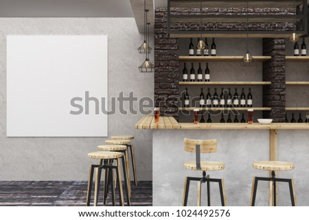 Modern loft bar or pub interior with empty banner on wall. Alcohol and leisure concept. Mock up, 3D Rendering